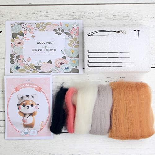Kimnny ウールフェルトクラフトDIY、猫人形ウールフェルトクラフトDIY未完成ポークセット針素材バッグパック用ハンドクラフトキット