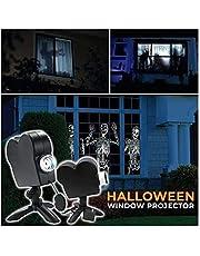 Proyección holográfica de Halloween, Proyector de ventana de Halloween, Lámpara de proyección LED de festival de 12 películas, Mejora el festivo Atmósfera