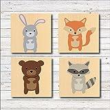 Woodland Nursery Decor Wall Art Baby's Room Deer Rabbit Fox Racoon