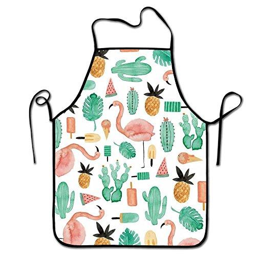Liubajsdj-Waist Adjustable Professional Apron Kitchen Flamingo Pineapple Watermelon Woman Aprons Comfortable Perfect For Cooking Guide ()
