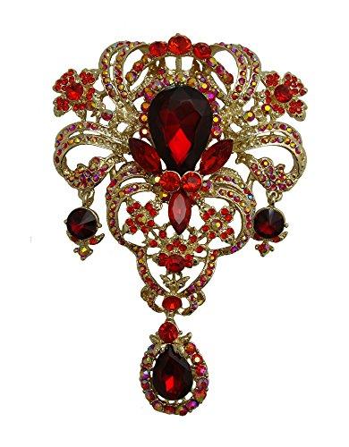 yle Flower Drop Brooch Pin Rhinestone Crystal Pendant (Red) ()