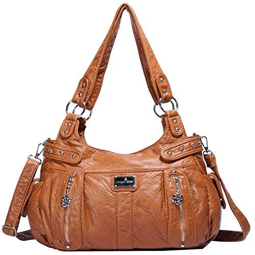 Angelkiss Design Handbags Womens Purse Feel Soft Lether Multiple Top Zipper Pockets Shoulder Bags Large … - Pocket Shoulder Bag Purse