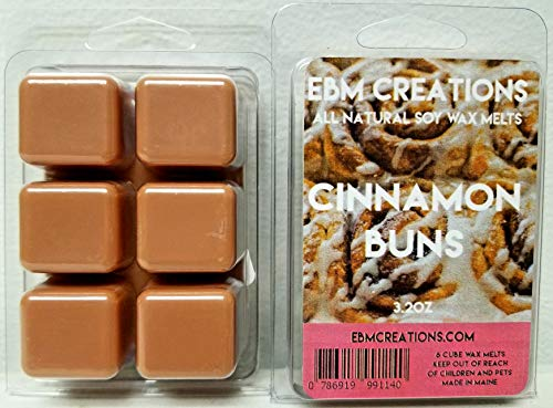 Cinnamon Buns - Scented All Natural Soy Wax Melts - 6 Cube Clamshell 3.2oz Highly Scented!