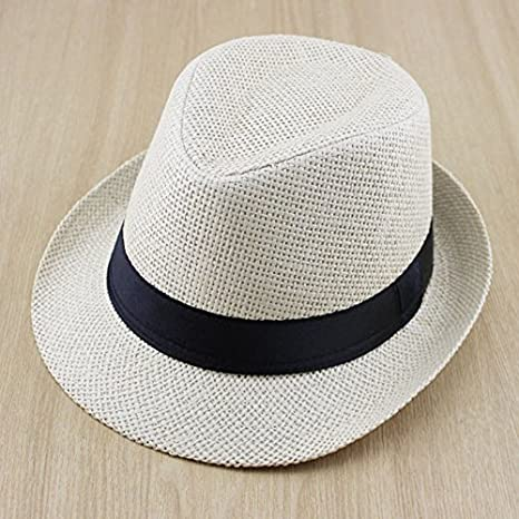 125ed769c3e Generic Green   Solid Color Boys Girls Straw Fedora Hat Children Top Hat  Topee Kids Summer