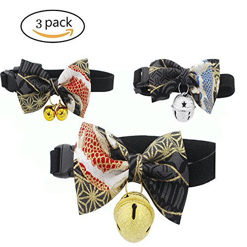 - foviupet Pet Bow Collar Cat Bow Tie 3 Pack/Set Cat Collar kitty Adjustable Japanese kimono style bow dog collar leash cat accessories With The Bell For Cats And Small Dogs (Medium, Black)