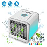 Portable Air Conditioner-Air Cooler-Arctic Air Conditioner-Mini Cooler 3-in-1 Personal Space Air Conditioner&humidifier & purifier with 7 Colors LED Lights,Silent Technology low noise,Perfect for Offi