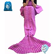 LAGHCAT Mermaid Tail Blanket Knit Crochet and Mermaid Blanket for Adult,Sleeping Bags