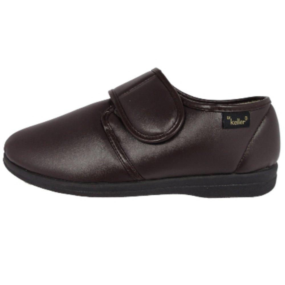 Dr lagerpoint - Zapatos de Hombre Negro y marrón con Cierre de Velcro para Ajuste de Anchura de Vinilo Acogedor Zapatillas Fotte Forro