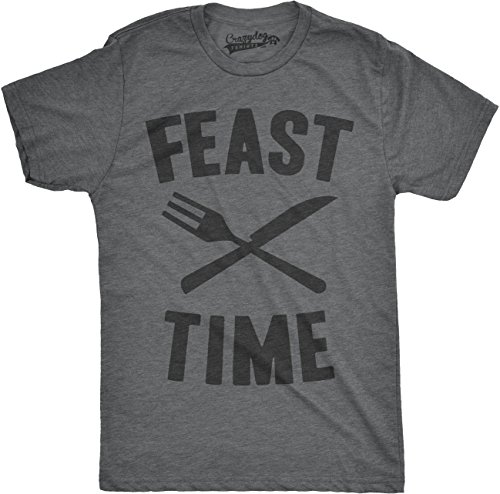 Crazy Dog TShirts - Mens Feast Time Tshirt Funny Thanksgiving Family Holiday Dinner Tee - herren -