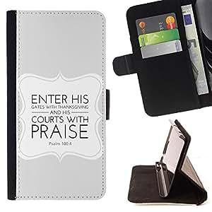 BullDog Case - FOR/LG Nexus 5 D820 D821 / - / ENTER HIS GATES WITH THANKSGIVING - PSALM 100:4 /- Monedero de cuero de la PU Llevar cubierta de la caja con el ID Credit Card Slots Flip funda de cuer