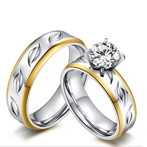 [KnBoB Stainlss Steel Wedding Bands High Polished AAA Cubic Zirconia CZ Couple Rings Women US9 & Men] (King Triton Costume For Kids)