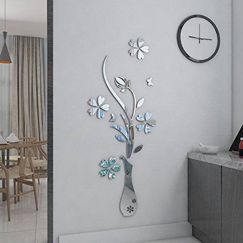 [HEYING Mirror Flower Vase 3D Crystal Acrylic DIY Wall Stickers& Murals For Entranceway , Living Bedroom Dining Room Décor Home Decoration (12.2