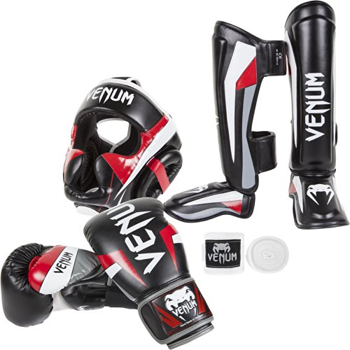 Venum Elite Standup Bundle, Black Gloves, Black Shinguards, Black Headgear, White Handwraps, 16-Ounce Gloves, Large Shinguards