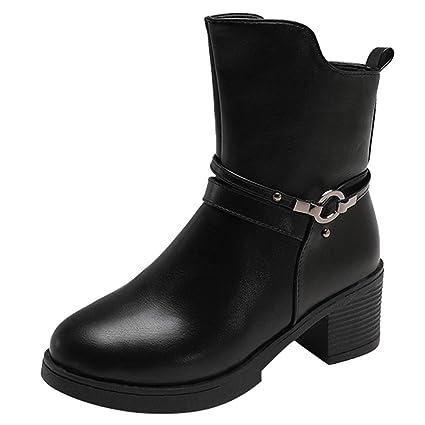❤ Botas para Mujer Tubo Medio a Prueba de Agua, cuñas Hebilla Correa Cuero Medio Botas Boots otoño Invierno Zapatos botín Absolute: Amazon.es: Ropa y ...