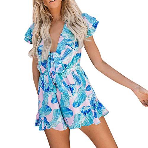 Short Jumpsuit,Fheaven Women's Deep V Neck Butterfly-Knotted Ruffle Trim Sleeveless Beach Romper Blue