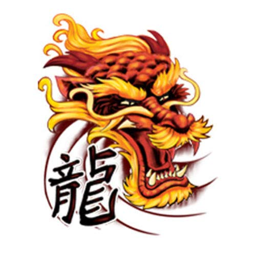 Dragon Ink Temporary Tattoo Orange & Yellow Dragon with Text Made in USA Tattoos Kids Body Sticker For Men Women
