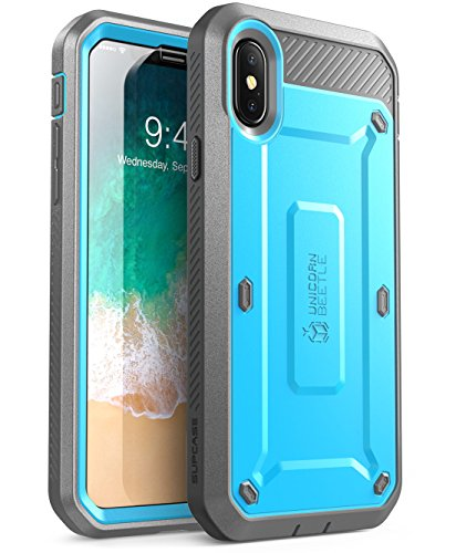 SUPCASE IPhone X, IPhone XS Case, Full-body Rugged Holster Case with Built-In Screen Protector for IPhone X 2017/ IPhone XS 2018 -Unicorn Beetle PRO Series - Retail Package (Blue)