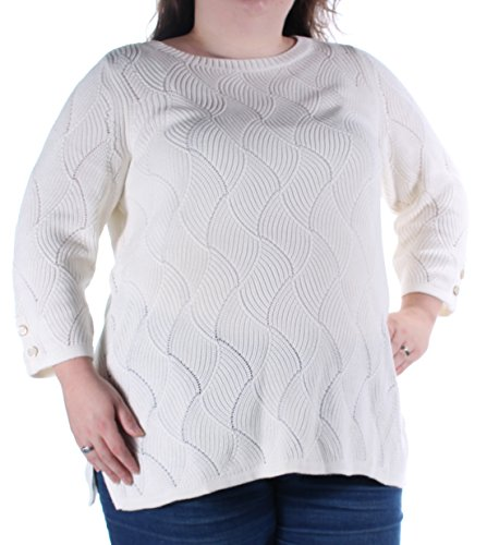 CHARTER CLUB Womens Ivory Long Sleeve Sweater 2X Plus ()