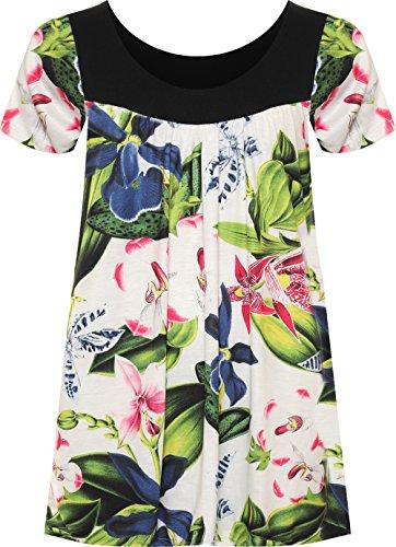 Manches Scoop Fleur WearAll Hauts Haut Taille Femmes Floral Femmes Grand Imprimer Courtes Cou 54 Tropical Tunique Tailles 40 YwqfxC8qA