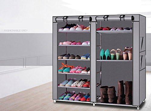 Space Saving Shoe Tower Shoe Cabinet Folding Cabinet NaNa Double Rows 9 Lattices Combination Style Shoe Cabinet Gray,Portable Shoe Rack Shoes Storage Organizer