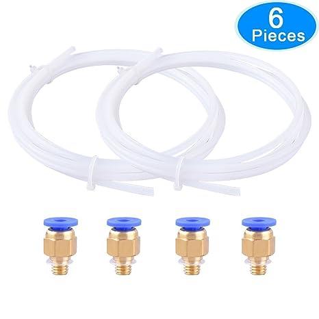 EAONE 2 Piezas Tubo de teflón de PTFE(2m) + 4 Piezas PC4-M6 ...