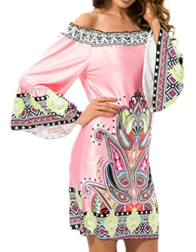 One Cromoncent 1 Beachwear Dress Sleeve Shoulder Step Print Womens Off Long Ethnic rPF0pr