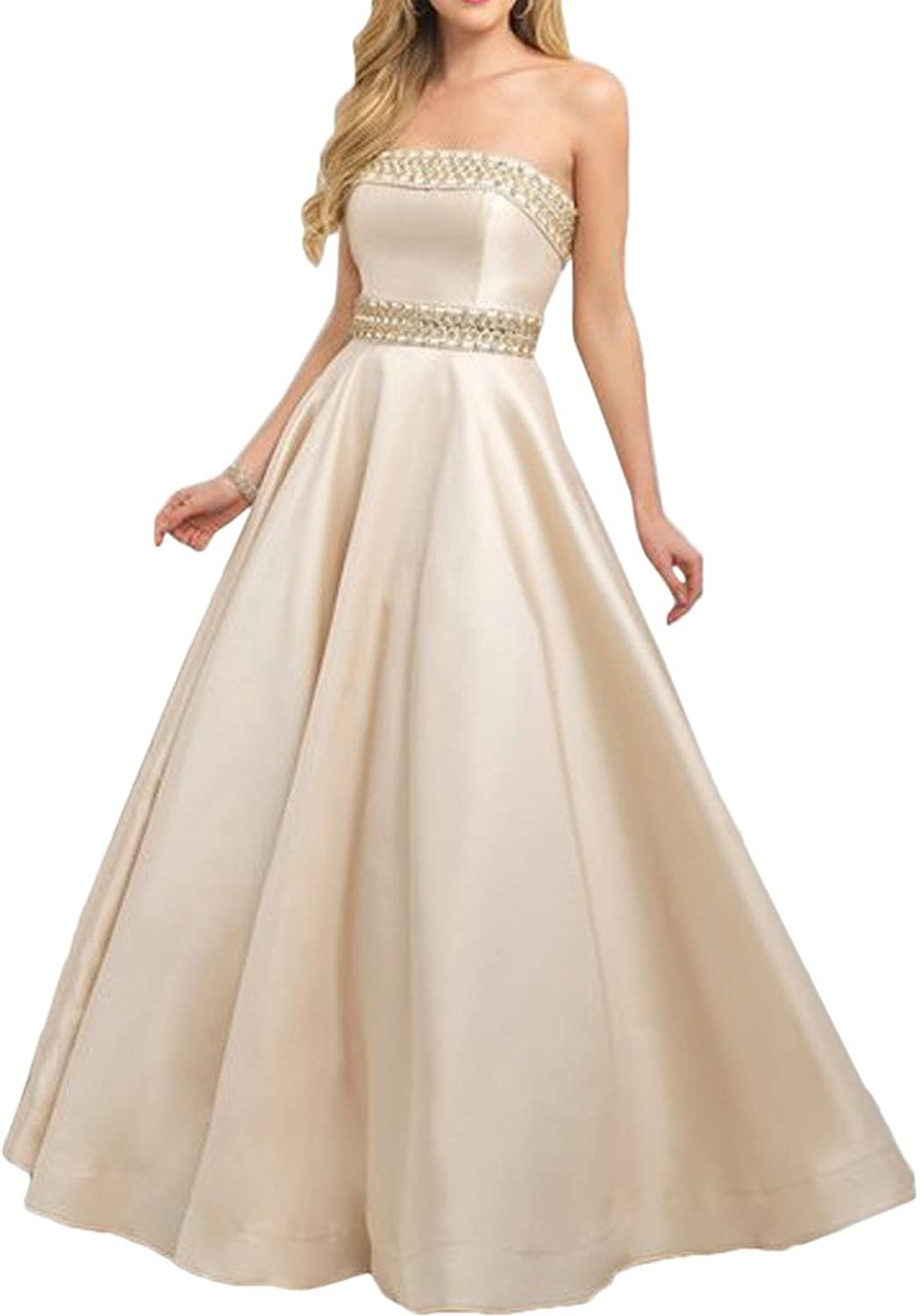 Gorgeous Bride Ball Gown Strapless Beaded Prom Evening Wedding Dresses Long