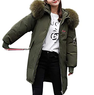 1a8ee6dc73e Lazzboy Womens Coat Parka Winter Warm Cotton-Padded Crane Embroidery Puffer  Faux Fur Hooded Overcoat