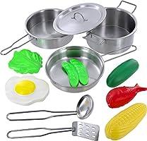 Haga clic N Play 12 piezas Mini acero inoxidable ollas y sartenes utensilios de cocina Pretend Juguete con juego alimentos