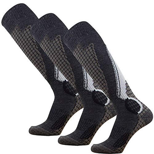 Womens Silver Boots Ski - Pure Athlete High Performance Wool Ski Socks – Outdoor Wool Skiing Socks, Snowboard Socks (Black/Grey/Silver - 3 Pack, Small)