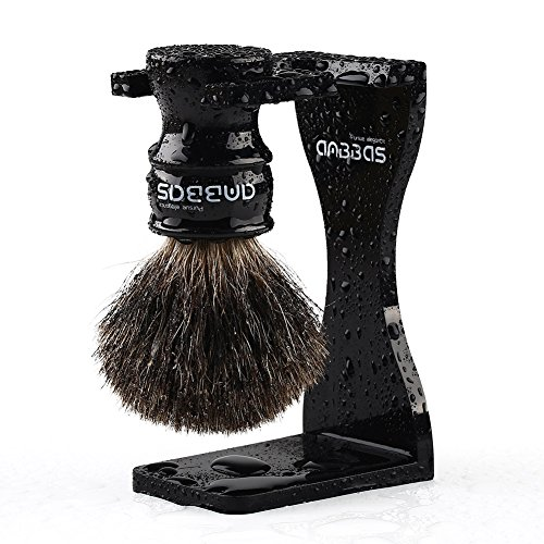 Quality Shaving Kit, 2pcs Anbbas Black Pure Badger Hair Shaving Brush with Resin Handle Medium Size and Black Acrylic Broken-resistant Shaving Stand 6mm thickness