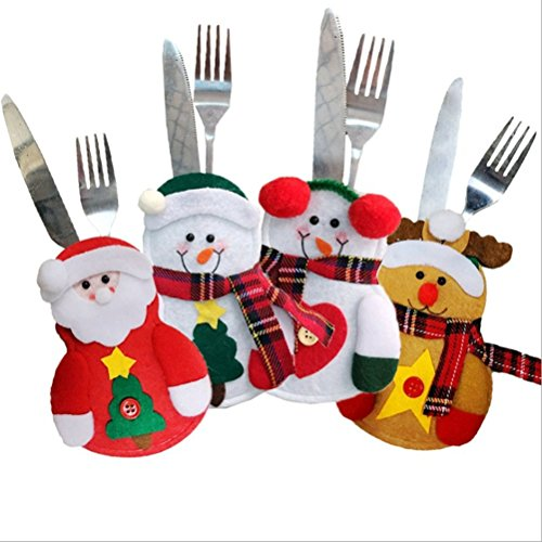 Jack In The Box Costume Head Diy (Peitero 4pcs &Santa Claus&Deer Tableware Sets Xmas Silverware Bags Knife and Fork Table Decoration,Red heart 71013cm)