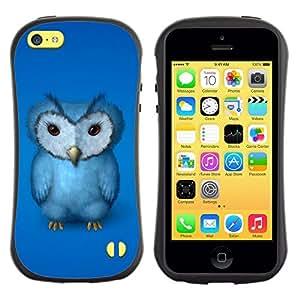 Suave TPU GEL Carcasa Funda Silicona Blando Estuche Caso de protección (para) Apple Iphone 5C / CECELL Phone case / / Blue Owl Furry Baby Bird Grumpy Drawing Art /