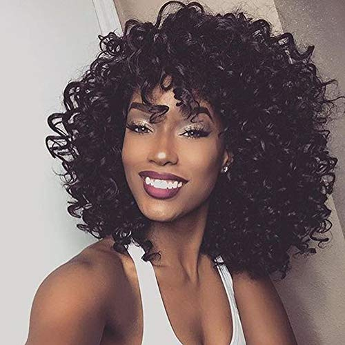 Short African American Wigs Curly Black Afro Wig with Bangs Discount for Women Hair (Black) -