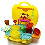 Kids Role Play-sets, OWIKAR Pretend Play Cinema Snack Bar Food Toys Early Educational Develop Practice Skills Portable Travel Suitcase