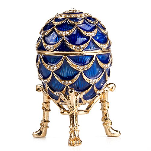 - Swarovski Crystals Faberge Egg: Pine Cone Faberge Style Egg Box Blue Limited Edition Collectible Faberge Reproduction