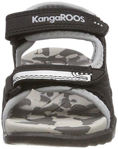 KangaROOS Sinclair II, Sandalias Unisex Niños Schwarz (Jet Black/Vapor Grey)