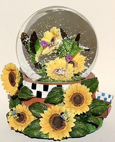 Think Crate Hummingbird In Sunflower Snow Globe Music Box 100mm Water Ball 5.75