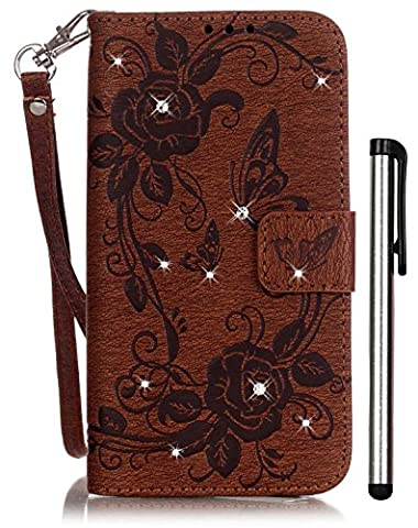Samsung Galaxy S7 3 in 1 Case Wallet Brown Leather Magnet Book Cell Phone Cover Accessories with Bling Crystal Stand 3 Credit Card Holder Cash Slot Wrist Strap Handmade Embossed Butterfly Flower - Brown Phone