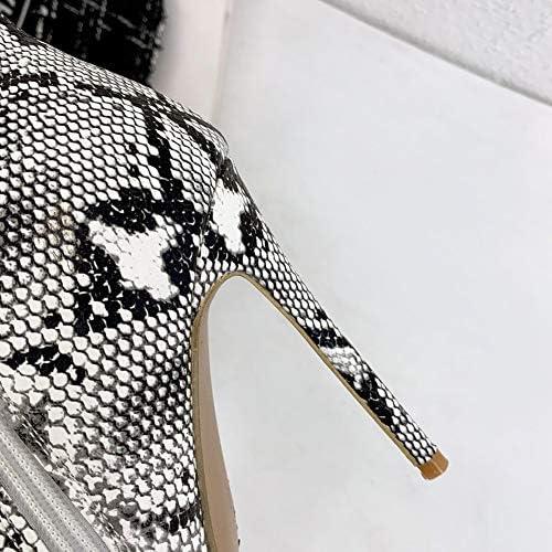 NA Gel Nail Stivaletti da Donna, Stivali da Donna con Cerniera Laterale, Scarpe da Donna con Tacco A Spillo A Punta,Marrone,47