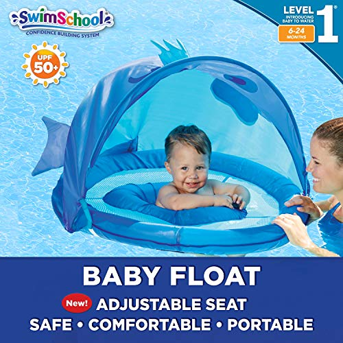 SwimSchool Blue Fun Fish Fabric Baby Pool Float, Splash & Play, Baby Boat with Safety Seat, Extra-Wide Inflatable Pool Float, Retractable Canopy, Upf 50, 6 To 24 Months, Blue