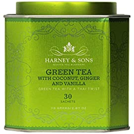 Harney & Sons Green Tea with Coconut, Ginger and Vanilla, 30 Sachets, 2.67 oz (75 g) 1 Fine Teas Master Tea Blenders Green Tea with Thai Twist