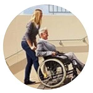 alfombrilla de ratón Mujer que empuja una escalera de usuario de silla de ruedas - ronda - 20cm