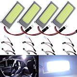 4-Pack AMAZENAR Aluminum White COB 36-SMD LED Panel Dome Lamp Auto Car Interior Reading,Plate Light,Roof Ceiling,Map Lamp with BA9S Adapter,T10 Adapte