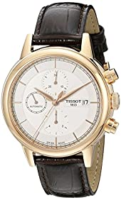 Tissot Men's T0854273601100 Carson Swiss Automatic Watch With Brown Leather Band