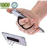 Phone Stand-Phone Grip-Phone Strap-Finger Grip Phone -Screen Protector for iphone Android Tablets and Mobile Devices-Black