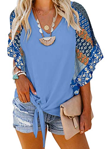 (Elapsy Womens Elegant Ladies Boho Flower Pattern Loose Geometric Ruffle Short Sleeve Blouse and Tops Blue Large)