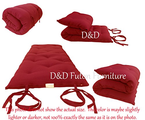 D&D Futon Furniture Traditional Japanese Floor Rolling Futon Mattress, Foldable Bed (Red, 3 x 54 x 80 (in) Full Size) 100 Traditional Furniture