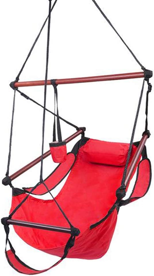 Hanging Chair Hammock Chair Porch Swinging Chair Hanging Chairs Outdoor Green Stripes Cotton Canvas Hanging Rope Chair Hammock Indoor Bedroom Decor for Teen Girls (Color : Red)