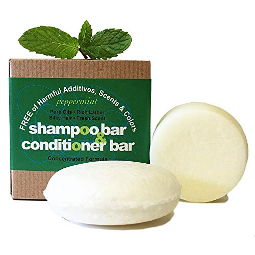 Whiff Shampoo Bar & Conditioning Bar, Peppermint: Rich lather, Pure oils, Limited Ingredients, FREE from harmful Additives, Fragrances, Scents, Colorings; Concentrated formula (peppermint) (Able Shampoo Peppermint)
